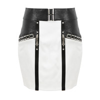 ANTHONY VACCARELLO IVORY AND BLACK BIMATERIAL SKIRT