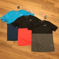 Men's Nike Racer SS Racer Shirt Back Grey 644396 Dri-FIT Workout Colorblock