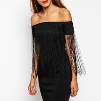 Black Off-Sleeve Fringed Bodycon Dress