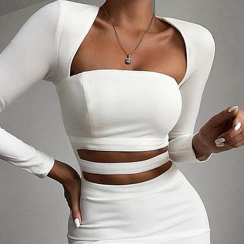 New fashion hollow solid color long sleeve dress women White