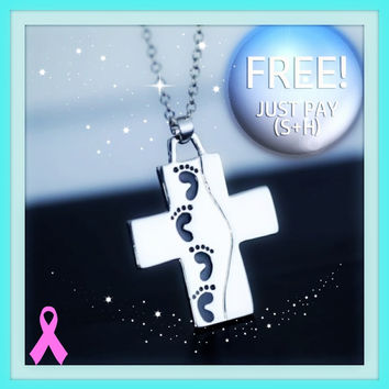 FREE 2016 New cross necklace silver chain cross footprint pendant Just pay shipping