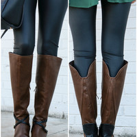 Very Volatile Backyard Brown Riding Boot With Contrast Heel & Buckle Strap Details