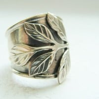 Silver wide band flower ring - Sterling silver armor ring - adjustable ring - sterling silver flower ring