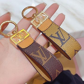 Louis Vuitton LV New leather letter printed couple keychain
