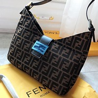Fendi Fashion New More Letter Print Canvas Shoulder Bag Handbag