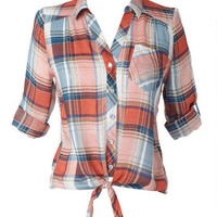 Tie Front Plaid Three-Quarter-Sleeve