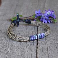 Nautical sailing bracelet - Mens bracelet - Linen bracelet for men blue and navy - Mens jewelry for him - Gift for boyfriend - Organic gift