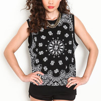 BANDANA PRINT KNIT TOP