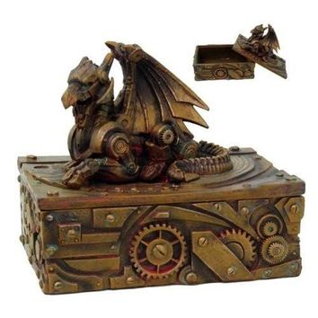Steampunk Dragon Jewelry Box Statue Figurine Victorian Scifi Robotic Collectible Rusty Finish