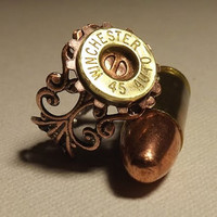 winchester 45 auto steampunk bullet ring