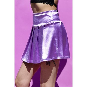 Sleep to Dream Deadstock Sateen Pleated Skirt - Orchid