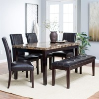 Traditional 6-Piece Dining Set with Faux Marble Top Table 4 Chairs & Bench
