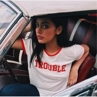 2017 Summer T shirt Women Cotton O-neck Short Sleeve TROUBLE Letter Printed Top Lady Casual Couple T-shirt Tee Short Sleeve