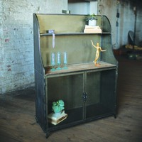 Wood & Metal Buffet with Two Glass Doors