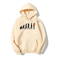 Primitive original man printing male and female couple models cotton fleece hooded long sleeves sweater
