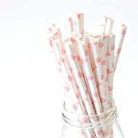 Paper Straw Heart - Pale Pink x 25