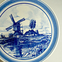 Blue and White Plates, Hand Painted Plate, Delft Plate, Delft Blue, Vintage plates, Decorative plates, Windmill, Made in Holland, Homedecor