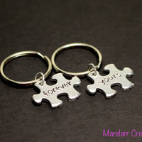 Forever Yours Hand Stamped Puzzle Piece Keychains, Interlocking Puzzle, Couples Accessory, Anniversary