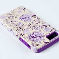 DandyCase 2in1 Hybrid High Impact Hard Lavender & Cream Floral Pattern + Purple Silicone Case Cover For Apple iPhone 5S & iPhone 5 (not 5C) + DandyCase Screen Cleaner