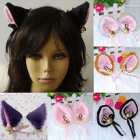 Playful Anime Costume Cat Fox Ears Long Faux-Fur Hair Clip Pair Party Cosplay = 1929578116