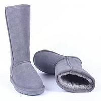 Bunchsun UGG Autumn And Winter Women Men Fashion Wool Snow Boots Shoes Gray