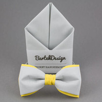 Gray Matching Set Gray Yellow Bow Tie Gray Pocket Square Gray Bow Tie Gift for Men Wedding Bow Ties Yellow BowTie Groomsmen Bow Ties for Him