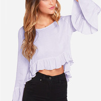 Light Purple Angel Sleeve Asymmetrical Top with Ruffled Bottom