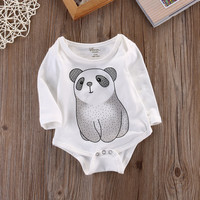 New Newborn Baby Kids Outfits Boys Girls cartoon Panda long sleeve Bodysuit Clothes Free Shipping
