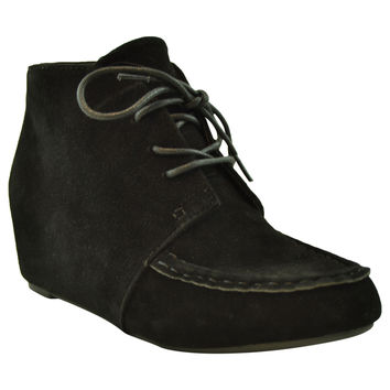 Womens Ankle Boots Lace Up Moccasin Hidden Wedge Shoes black