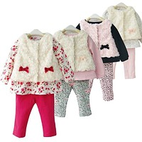 Drop shipping LittleSpring Retail 3pcs baby sets new 2016 fashion brand Girls flower baby clothes bow suits baby girl suit cloth