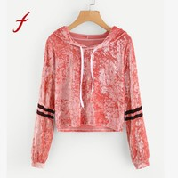 FEITONG Feamle Sweatshirt Women Fashion Striped Long Sleeve Hoodie Short Jumper Pullover Tops Velvet Blusa Autumn Winter Shirt