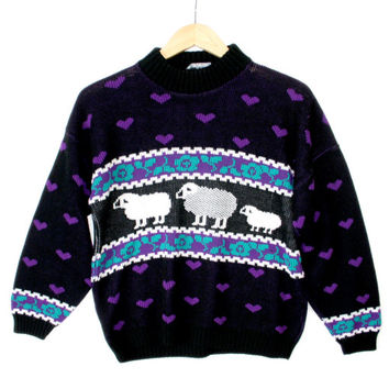 """Vintage 80s """"I Love Ewe"""" Sheep Themed Valentines Ugly Sweater"""