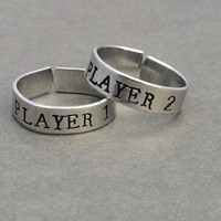 Player 1 Player 2 Nintendo Video Games Best Friends Rings Couples Rings  Stamped Aluminum Ring