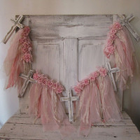 Wooden Cross garland with pink and cream wispy lace shabby cottage chic pink rose banner rare ooak wall hanging decor anita spero design