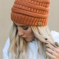 Knitted Pull On Beanie - Rust