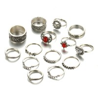 14PCs/Vintage Tibet Lucky Red Antique Artificial Stone Moon Knuckle Midi Ring for Women Punk Boho Rings Gifts