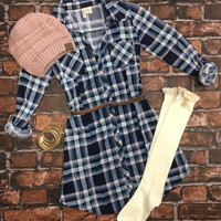 You Plaid me at Hello Belted Tunic Dress: Pink/Navy