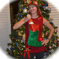Wine Holder Ugly Christmas Sweater, alcohol, stocking holder, bow, long sweater, woman