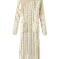 Oasap Women's Turtle Neck Long Sleeves Sweet Cable Knit Dress