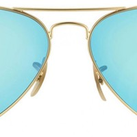 Cheap Ray-Ban Aviator 'RB3025' Unisex Matte Gold/ Blue Flash Lens Sunglasses outlet