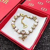DIOR Popular Woman Chic Bee Pearl Bracelet Hand Catenary Accessories Jewelry