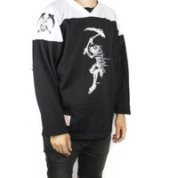 vintage 90s hockey jersey / 1990s black and white mesh shirt / athletic health goth / grim reaper / skull & bones / oversized baggy / large