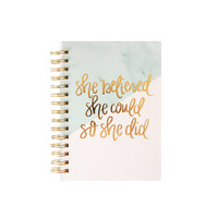 She Believed She Could So She Did Gold Foil and Marble Spiral Notebook