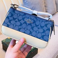 COACH Crescent Bag Mahjong Bag Denim with Classic Double C Fabric Shoulder bag blue