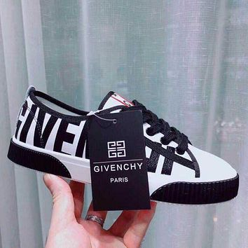 GIVENCHY Newest Popular Women Casual Black White Mix Match Low Top Sport Shoes Sneakers Black Sole I13578-1
