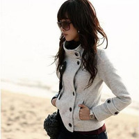 Solid Color High Necke Buttons Coat
