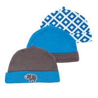 3 pieces/Lot Fashionable 100% Cotton Newborn EMBROIDERY Blue Baby Elephant Spring 2014 Baby Hats&Baby Caps