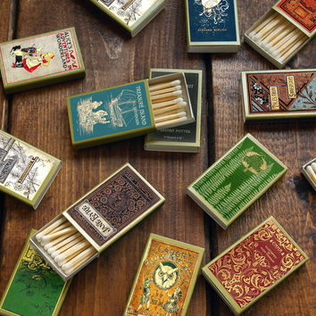 Twelve (12) Literary Matchboxes - Read a Book by Candlelight - Tiny Gift - Trip Down Memory Lane - Party Favors - Light an Imaginative Spark