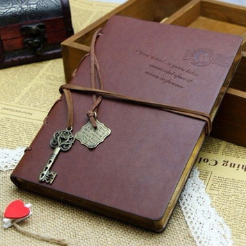 Random Classic Retro Vintage Leather Notebook Bound Blank Page Journal Diary WLN1 = 1932317060