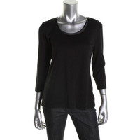 JM Collection Womens Satin Trim Pullover Top